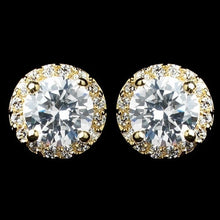 Gold CZ Stud Earrings - Lierre Bridal Accessories