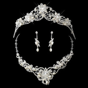 Freshwater Pearl, Swarovski Crystal and Rhinestone Tiara Headpiece - Lierre Bridal Accessories