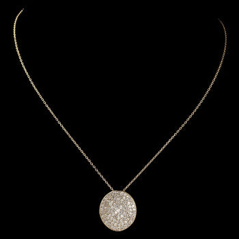 Gold Clear Rhinestone Circle Pendant Necklace - Lierre Bridal Accessories