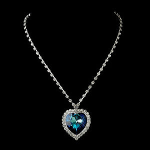 Blue Titanic Heart Necklace - Lierre Bridal Accessories