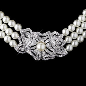 Pearl and Rhinestone Vintage Floral Necklace - Lierre Bridal Accessories