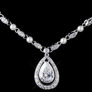Clear CZ Crystal and White Pearl Necklace - Lierre Bridal Accessories