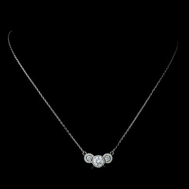 Three Stone CZ Pendent Necklace Silver - Lierre Bridal Accessories