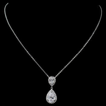 Clear Pave CZ Teardrop Pendant Necklace - Lierre Bridal Accessories