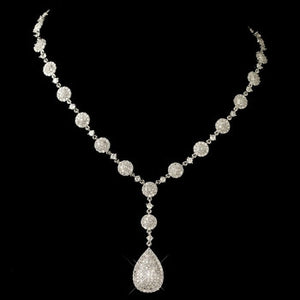 Round and Teardrop Pavé CZ Crystal Necklace - Lierre Bridal Accessories