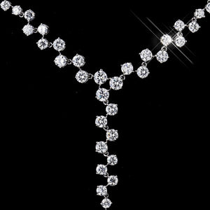 CZ Multi Cut Stone Necklace - Lierre Bridal Accessories