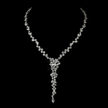 Antique Silver Clear CZ Crystal Necklace - Lierre Bridal Accessories