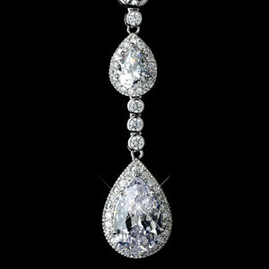 Silver Clear CZ Crystal Double Tear Drop Necklace - Lierre Bridal Accessories
