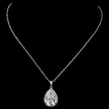 Large CZ Teardrop Pendant Necklace - Lierre Bridal Accessories