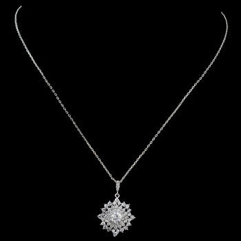CZ Sun Pendant Necklace - Lierre Bridal Accessories