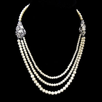 3 Row Ivory Pearl Necklace - Lierre Bridal Accessories