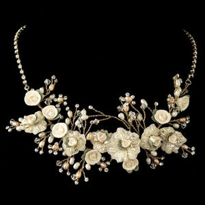 Golden Freshwater Pearl, Swarovski Crystal, Rhinestone, Bead, Porcelain Rose Necklace - Lierre Bridal Accessories