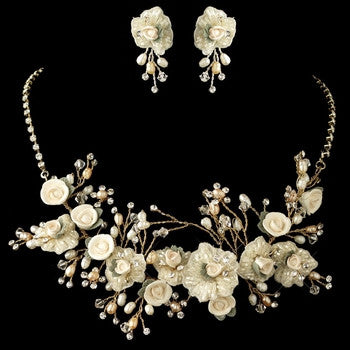 Porcelain Rose Jewelry Set - Lierre Bridal Accessories