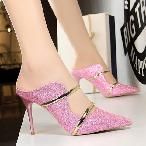 Women Sexy Night Club Pumps Platform Thin Heel Stiletto Sandals Wedding High Heels Slip On Dress Shoes