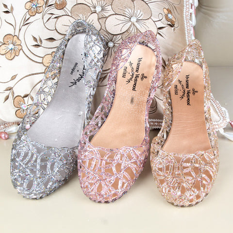 Sparkling Crystal Jelly Shoes