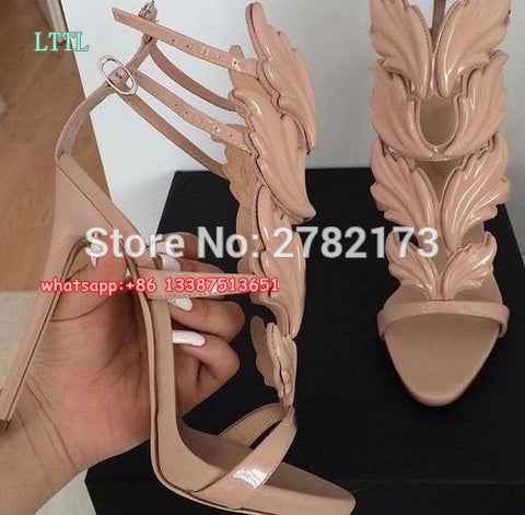 Winged Suede Heels
