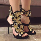 2017 Summer Gold Leaf High Heels