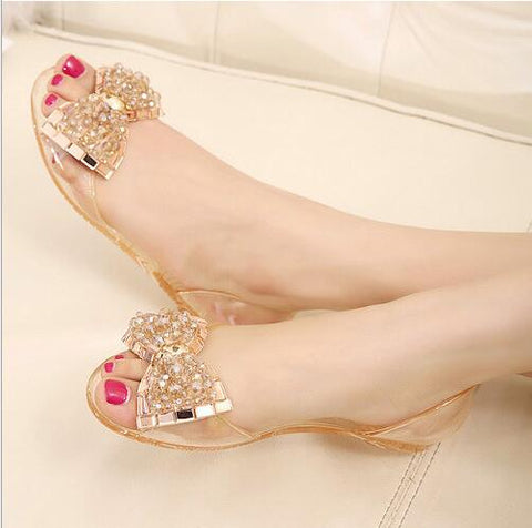 Eilyken Women Sandals Summer Style Bling Bowtie Jelly Shoes Woman Casual Peep Toe Sandal Crystal Flat Shoes Size 35-40
