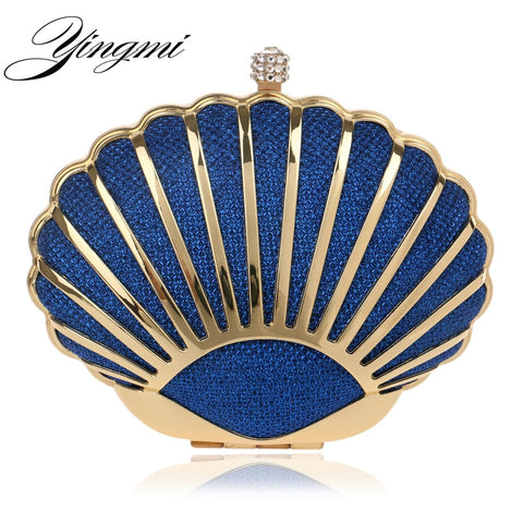 YINGMI Women Evening Bag Popular Fashion Alloy Day Clutch Bags Crystal Shell Small purse Bags Wedding Bridal Diamond Bags