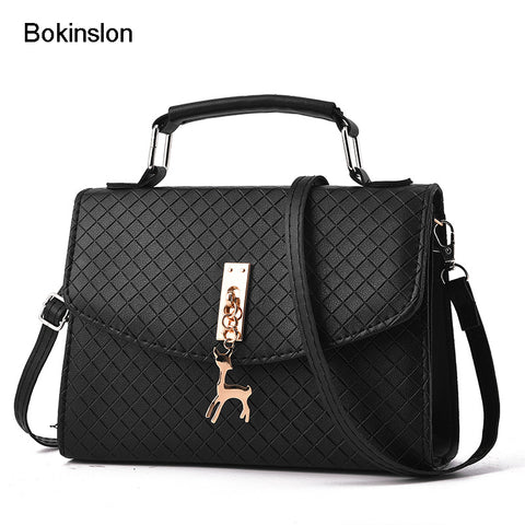 Bokinslon Small Square Bags For Girls PU Leather Casual Woman Crossbody Bag Solid Color Popular Female Handbag Bags