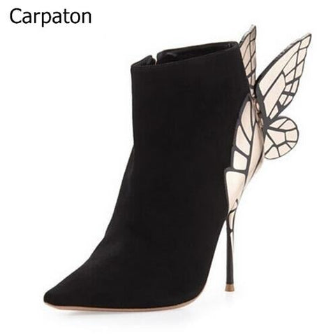 Elegant Black Suede Butterfly Boots