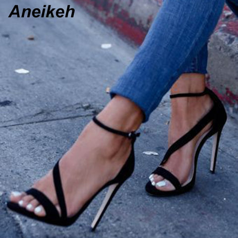 Aneikeh New Fashionable Sexy Design Women Line Style Buckle Thin High Heels Black Faux Suede Open Toe Dress Sandals 999-9