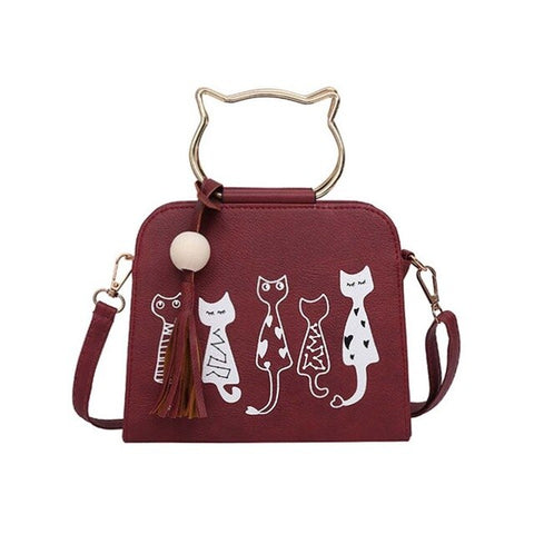2017 Hot sale Cute Cartoon Cats Printed Shoulder Bags  Ladies Girls Small Crossbody Bags Women Scrub Leather Handbags Popular