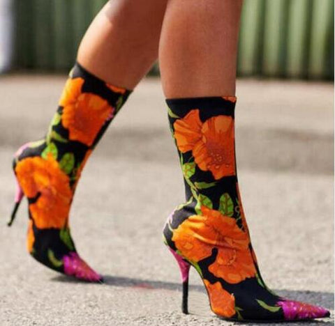 Designer Floral Sock Shoes