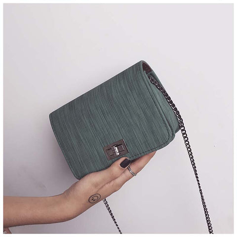 Fashion Autumn Winter Women PU Leather Mini Messenger Bag High Quality Metal Chain Strap Ladies Casual Shoulder Bags Popular