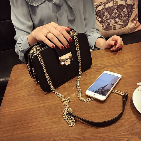Women's fashion handbag three layer shoulder bag messenger bag vintage popular mobile phone small bag chain bag black color