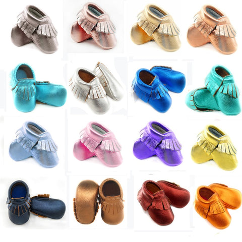 SHINE BABY 100% LEATHER MOCCASINS 0-30 MONTHS