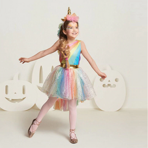 GOLD RAINBOW UNICORN PARTY DRESS
