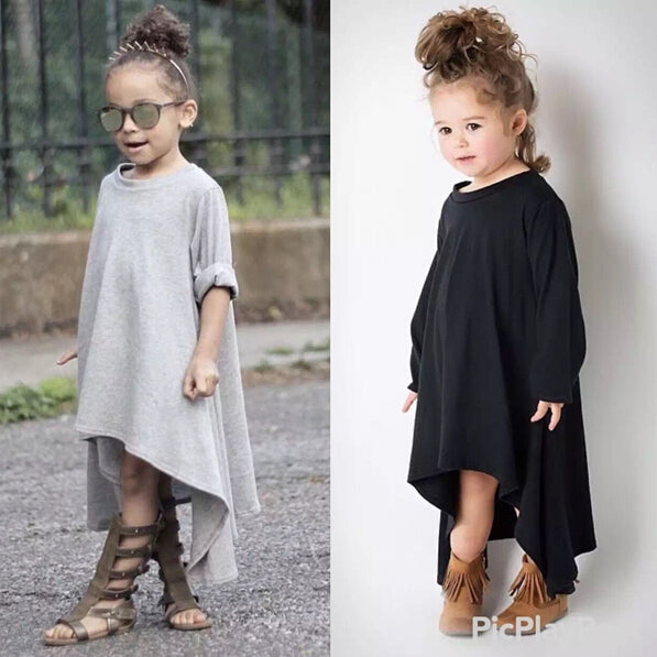 Autumn Girls Dress Irregular Hem Long Sleeve Dresses Girls Black Gray Dress For Kids Baby Girls vestido da menina vetement fille