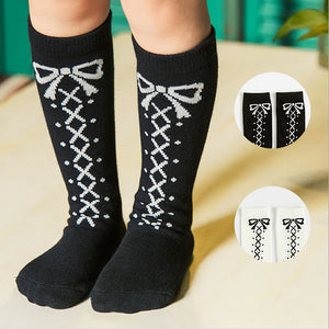 BLACK BOW KNEE SOCKS 0-6 years old