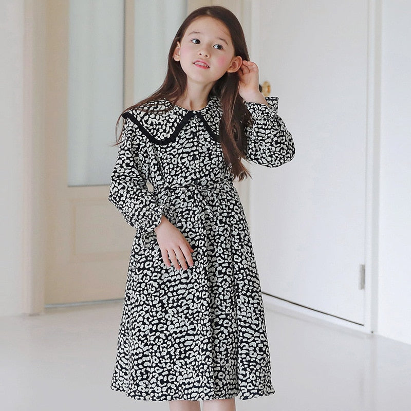 LEOPARD PAN COLLAR DRESS