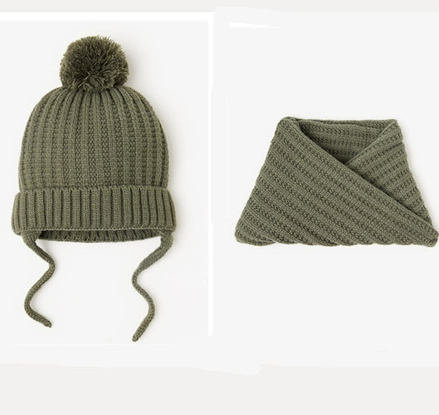 KNITTED SCARF & HAT BABY SET