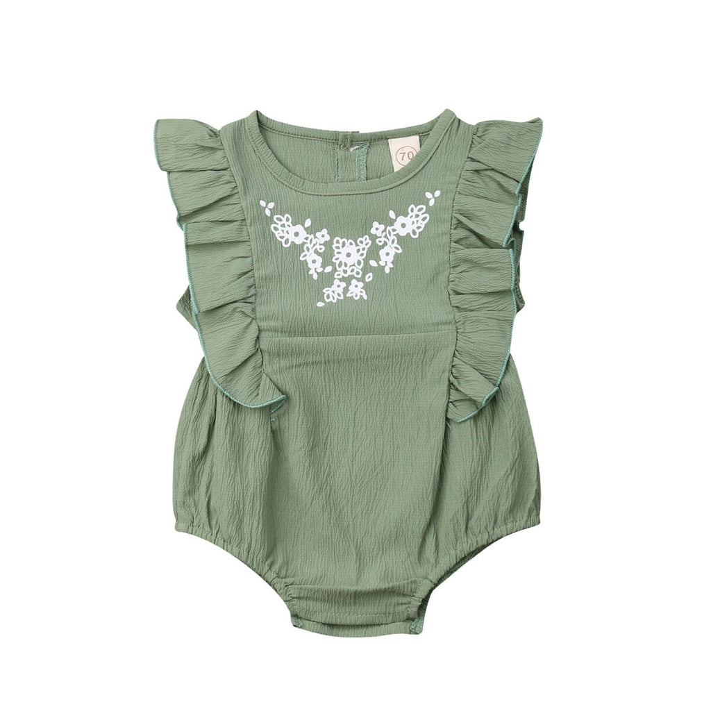 GREEN RUFFLES PLAYSUIT