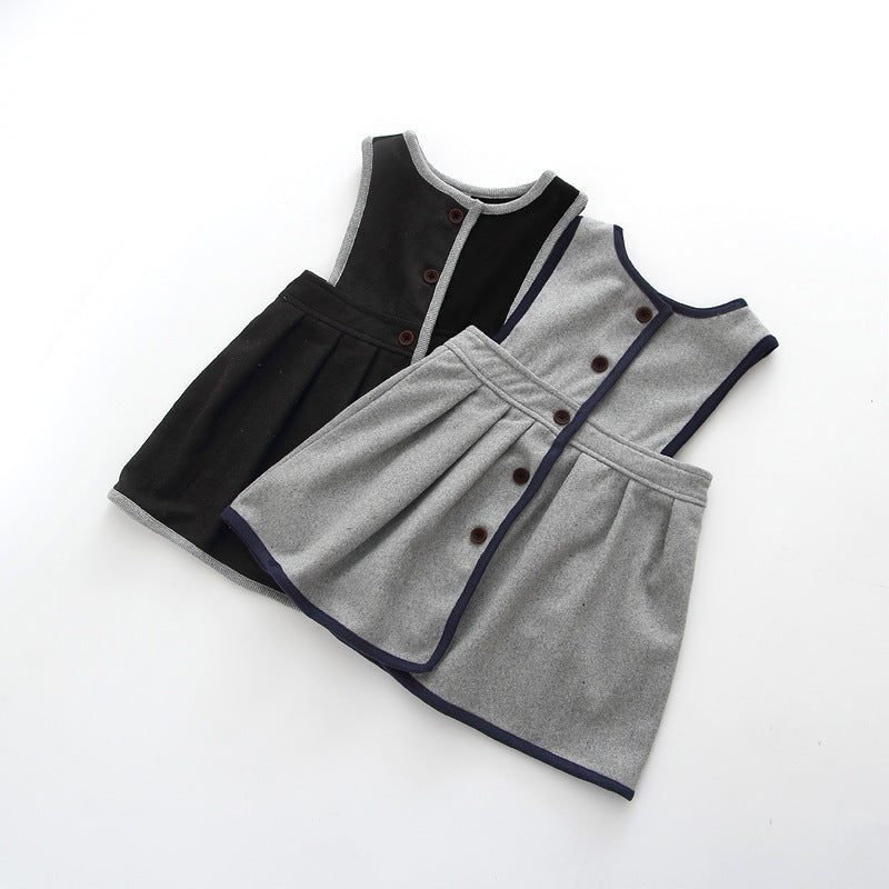 ELEGANT GREY WOOL DRESS FOR GIRLS