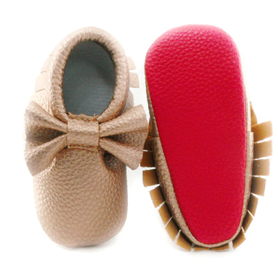 RED SOLE VEGAN LEATHER BOW BABY GIRL MOCASSINS