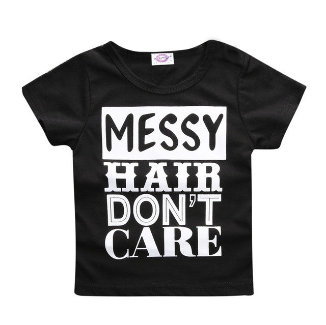 MESSY HAIR DONT CARE TEE SHIRT BOYS