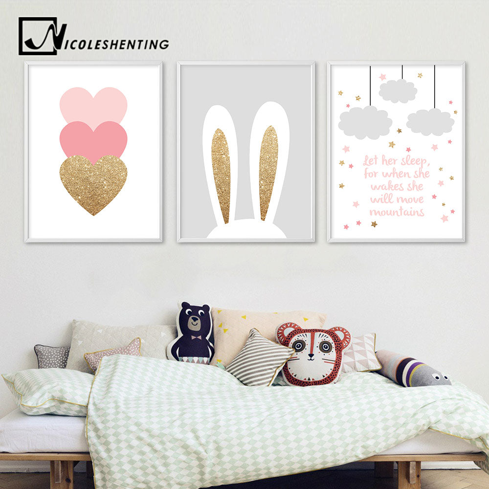 RABBIT PINK HEART WALL HEART