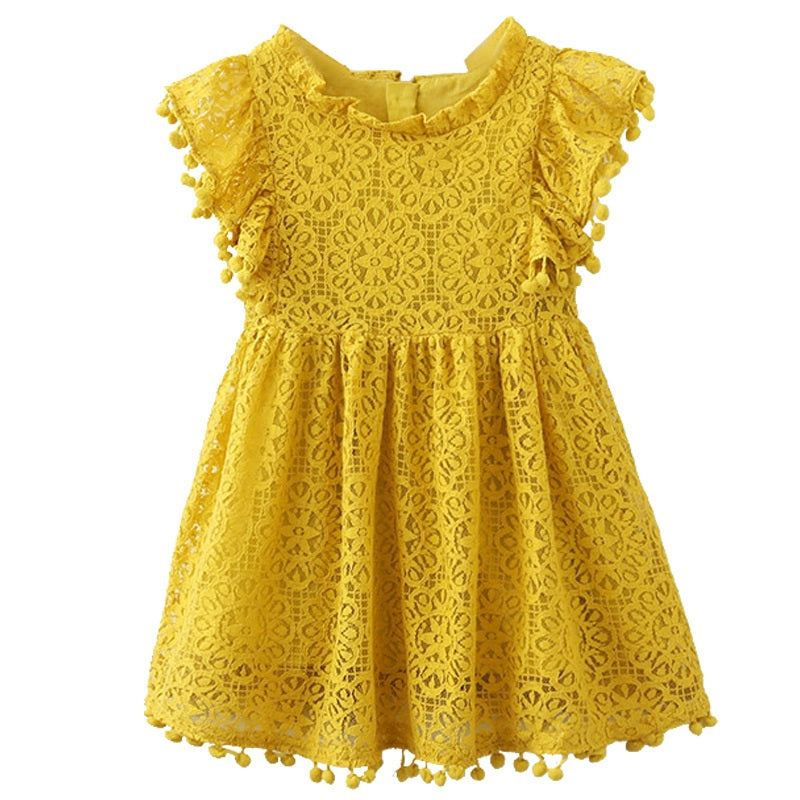YELLOW TASSELS SUMMER DRESS