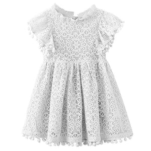 WHITE TASSELS LACE SUMMER DRESS