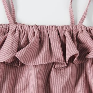 DIRTY PINK RUFFLE ONESIE SET 0-24M