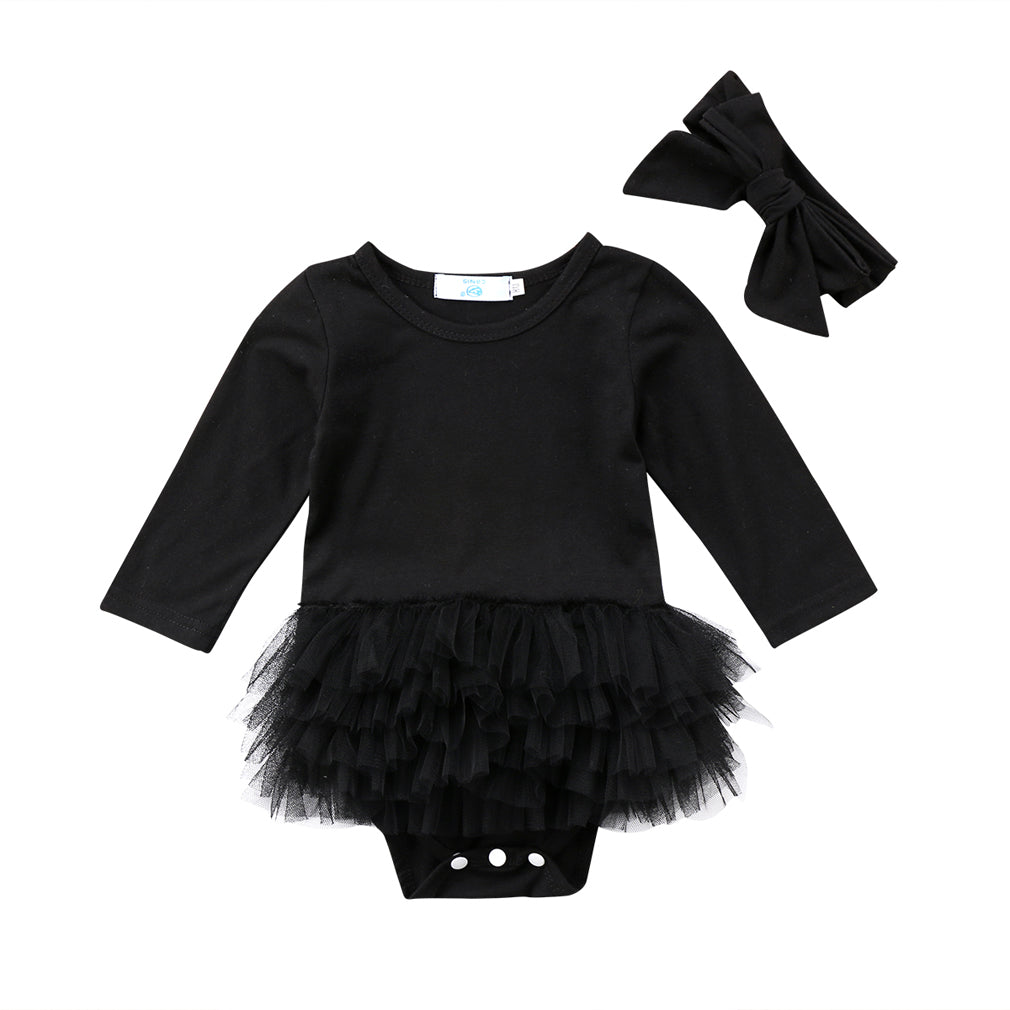 BLACK TUTU LONG SLEEVES SET