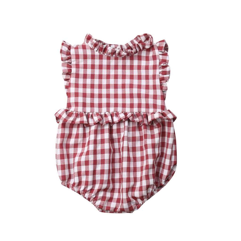 PLAID RUFFLE PLAYSUIT