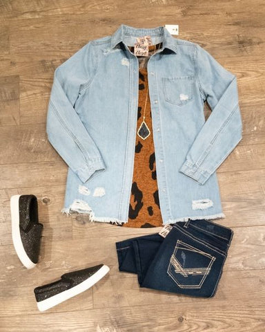 Distressed Shacket Camel Animal Tank Layering Outfit