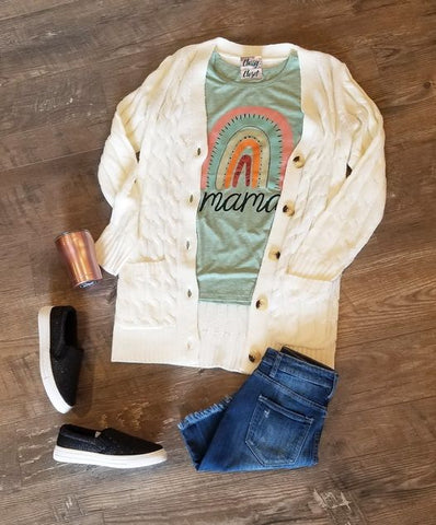 Textured White Cardigan Sweater Mama Graphic Tee Outfit