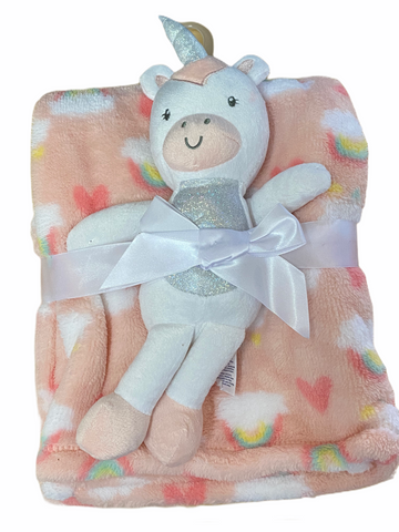 Unicorn and Rainbows Plush with Blanket