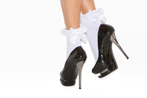 Nylon Anklet with Ruffle & Satin Bow